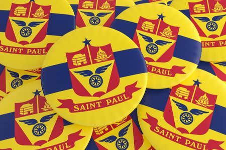 US City Buttons: Pile of Saint Paul, Minnesota Flag Badges, 3d illustration