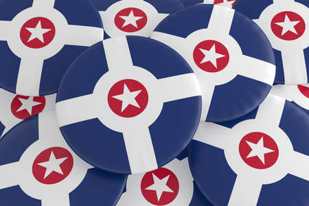 US City Buttons: Pile of Indianapolis, Indiana Flag Badges, 3d illustration
