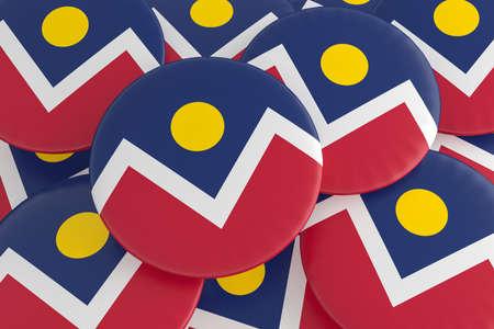 US City Buttons: Pile of Denver, Colorado Flag Badges, 3d illustration