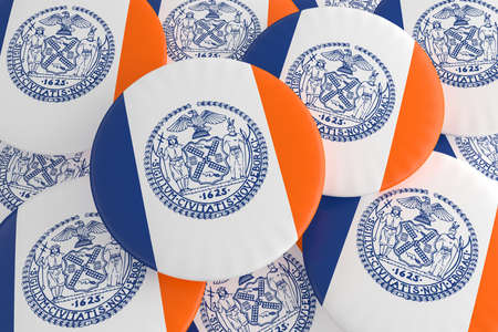 US City Buttons: Pile of New York City, New York Flag Badges, 3d illustration