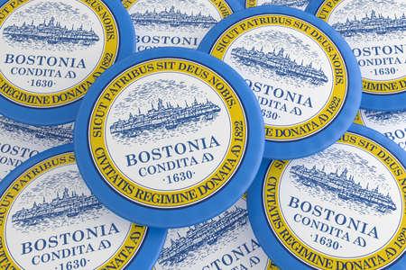 US City Buttons: Pile of Boston, Massachusetts Flag Badges, 3d illustration