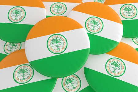 US City Buttons: Pile of Miami, Florida Flag Badges, 3d illustration