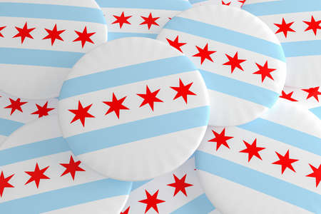 US City Buttons: Pile of Chicago, Illinois Flag Badges, 3d illustration Zdjęcie Seryjne