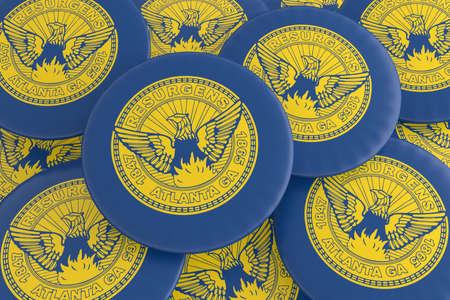 US City Buttons: Pile of Atlanta, Georgia Flag Badges, 3d illustration
