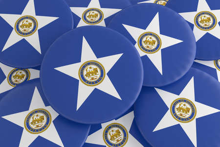 US City Buttons: Pile of Houston, Texas Flag Badges, 3d illustration