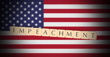 USA Politics Concept: Letter Tiles Impeachment On US Flag, 3d illustration