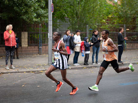 BERLIN, GERMANY - SEPTEMBER 29, 2019: Winner Kenenisa Bekele At Berlin Marathon 2019 In Berlin, Germany