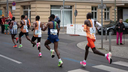 BERLIN, GERMANY - SEPTEMBER 29, 2019: Leading Group At Berlin Marathon 2019 With Winner Kenenisa Bekele In Berlin, Germany