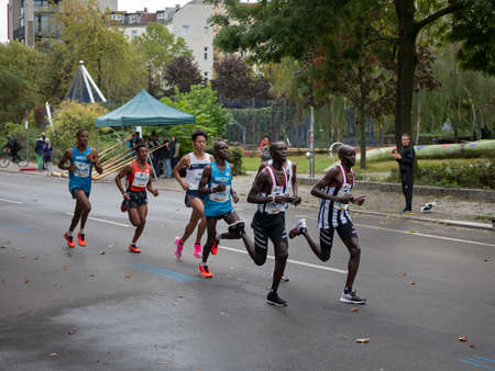BERLIN, GERMANY - SEPTEMBER 29, 2019: Group At Berlin Marathon 2019 With Abel Kipchumba And Yohanes Gebregergish In Berlin, Germany Redakční