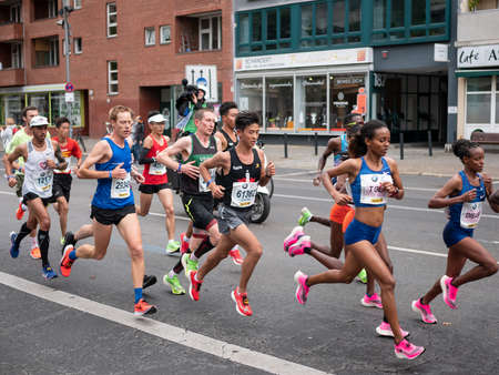 BERLIN, GERMANY - SEPTEMBER 29, 2019: Group At Berlin Marathon 2019 With Mare Dibaba And Helen Tola In Berlin, Germany