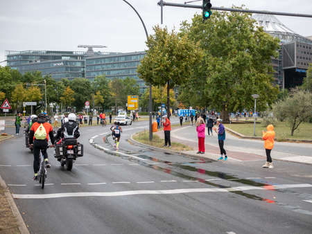 BERLIN, GERMANY - SEPTEMBER 29, 2019: Melat Kejeta At Berlin Marathon 2019 With Dome Near Potsdamer Platz In Berlin, Germany Redakční