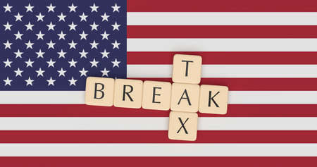 USA Politics Concept: Letter Tiles Tax Break On US Flag, 3d illustration