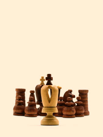 Underdog Concept: One White King Standing Against Black Chess Pieces