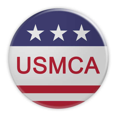 United States-Mexico-Canada Agreement Badge: USMCA Button With US Flag, 3d illustration, Isolated On White Background Фото со стока