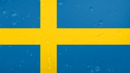 A Few Raindrops On Sweden Flag, Background Texture