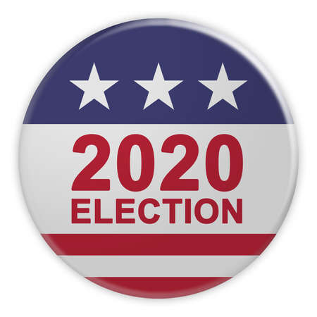 USA Politics News Badge: 2020 Election Button With US Flag, 3d illustration Isolated On White Background