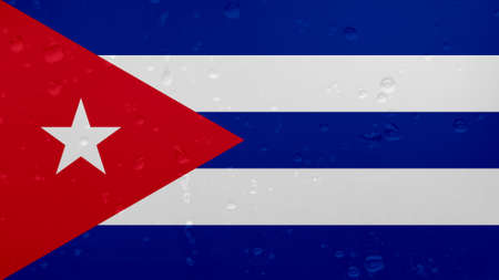 A Few Raindrops On Cuba Flag, Background Texture