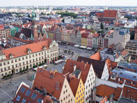 WROCLAW, POLAND - AUGUST 14, 2017: Aerial View of Rynek Market Square In Wroclaw