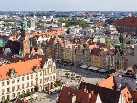 WROCLAW, POLAND - AUGUST 14, 2017: Aerial View of Rynek Market Square In Wroclaw With Townhall Building