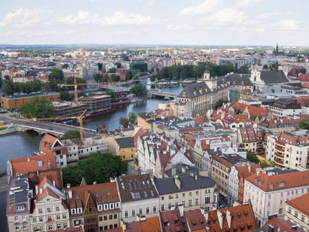 WROCLAW, POLAND - AUGUST 14, 2017: Aerial View of Wroclaw With River Oder In Wroclaw, Poland