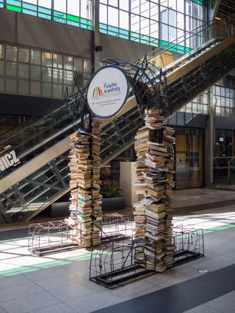 WROCLAW, POLAND - AUGUST 15, 2017: Piles of Books In Wroclaw Railway Main Station In Wroclaw, Poland