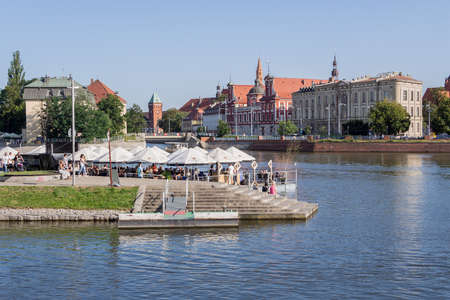 WROCLAW, POLAND - AUGUST 14, 2017: Cafe At The Riverside of River Oder In Wroclaw, Poland In Summer