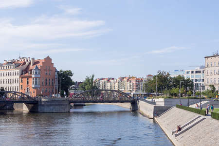 WROCLAW, POLAND - AUGUST 14, 2017: Bridge Over River Oder In Wroclaw, Poland In Summer Editorial