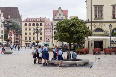 WROCLAW, POLAND - AUGUST 16, 2017: Polish Girl Guides At Rynek Market Square In Wroclaw