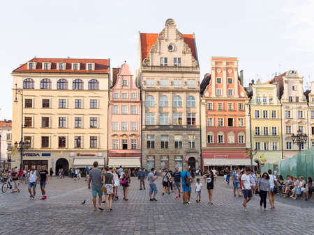 WROCLAW, POLAND - AUGUST 14, 2017: Tourists At Rynek Market Square In Wroclaw, Poland Editorial