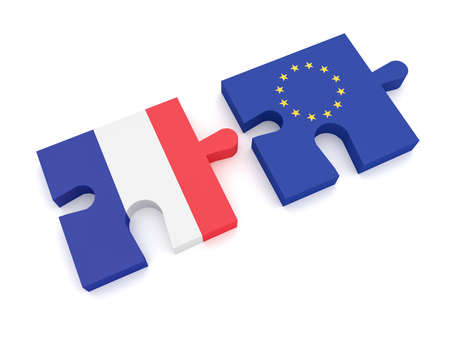 EU France Partnership: European Union Flag And French Flag Puzzle Pieces, 3d illustration on white background
