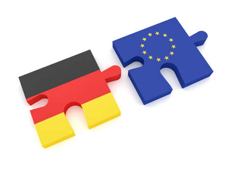 EU Germany Partnership: European Union Flag And German Flag Puzzle Pieces, 3d illustration on white background