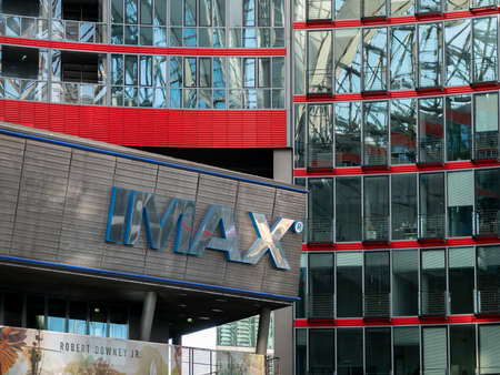 BERLIN, GERMANY - FEBRUARY 8, 2020: IMAX Cinema Logo At Sony Center Near Potsdamer Platz Square In Berlin, Germany