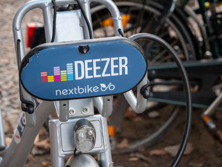 BERLIN, GERMANY - FEBRUARY 7, 2020: Public Bike Sharing Service Provider: Deezer Nextbike Bicycles In Berlin, Germany