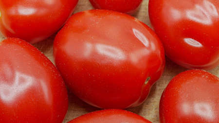 Close-up of Roma Tomatoes Also Called Italian or Plum Tomatoes Imagens