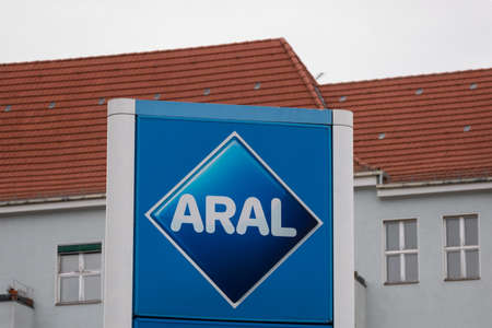 BERLIN, GERMANY - FEBRUARY 17, 2020: Aral Logo At A Petrol Station In Berlin, Germany