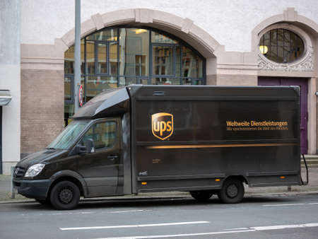 BERLIN, GERMANY - FEBRUARY 9, 2020: Small Truck of Package Delivery Company UPS In Berlin, Germany
