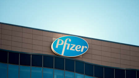 BERLIN, GERMANY - FEBRUARY 8, 2020: Logo of Pharmaceutical Corporation Pfizer At The German Headquarters In Berlin, Germany