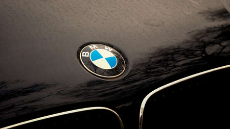 BERLIN, GERMANY - FEBRUARY 12, 2020: BMW Logo On A Black Car With Reflections of Trees