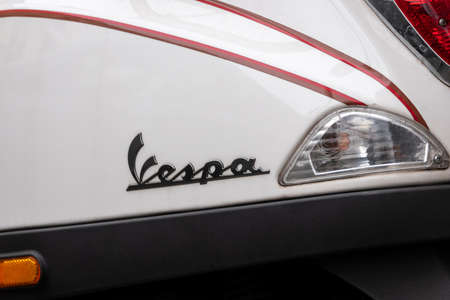 BERLIN, GERMANY - FEBRUARY 12, 2020: Close-up of The Logo of Vespa On A Scooter Manufactured By Italian Manufacturer Piaggio