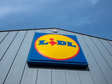 BERLIN, GERMANY - FEBRUARY 28, 2020: Lidl Logo At A Supermarket in Berlin, Germany