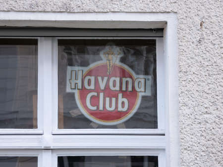 BERLIN, GERMANY - MARCH 26, 2020: Havana Club, Logo of Cuban Rum Behind A Window in Berlin, Germany Редакционное