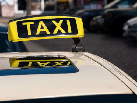 Close-up of German Taxi Cab Sign In Berlin, Germany Imagens