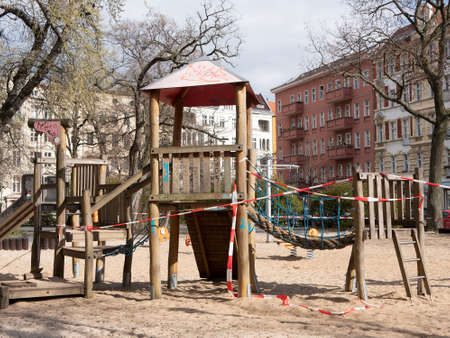 BERLIN, GERMANY - MARCH 31, 2020: Closed Playground With Barrier Tape Due To Corona Pandemic In Berlin, Germany