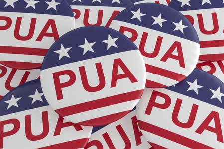 Pandemic Unemployment Assistance Badges: Pile of PUA Buttons With US Flag, 3d illustration Фото со стока