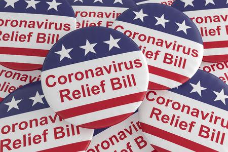 USA Politics Badges: Pile of Coronavirus Relief Bill Buttons With US Flag, 3d illustration Фото со стока