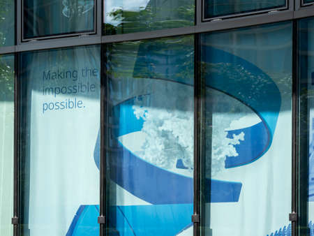 Advertisement of Pharmaceutical Corporation Pfizer At The German Headquarters In Berlin