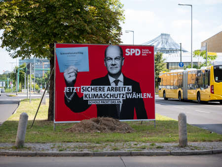 Campaign Poster of The SPD and Olaf Scholz In Berlin, Germany Редакционное
