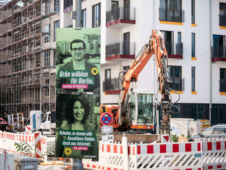 Campaign Posters of The Greens In Front of A Construction Site In Berlin
