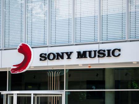 Logo of Sony Music At The European Headquarters In Berlin, Germany Редакционное