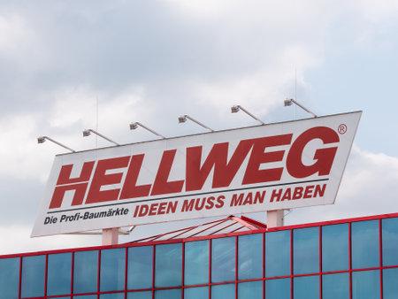 BERLIN, GERMANY - SEPTEMBER 20, 2021: Hellweg Logo At A DIY Store In Berlin